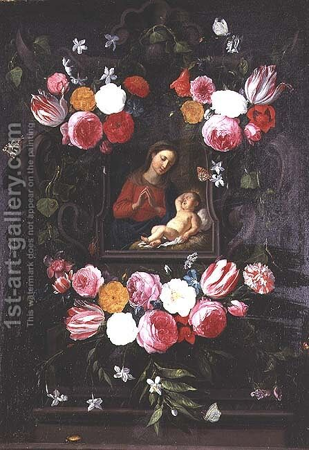 The Virgin and Child in a cartouche by Jan van Kessel - Reproduction Oil Painting
