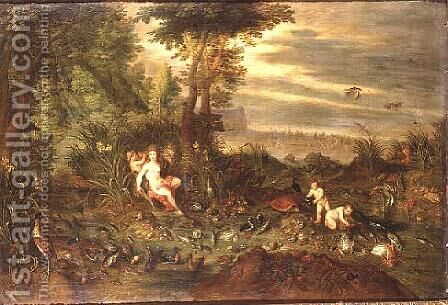 An Allegory of water a sea nymph by a reedy shore with Fish Shells and Birds nearby the Triumph of Amphitrite beyond by Jan van Kessel - Reproduction Oil Painting