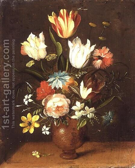 Tulips roses pinks and other flowers in a vase by Jan van Kessel - Reproduction Oil Painting