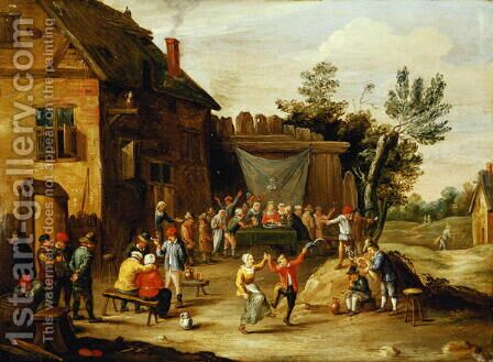 Wedding Feast in the Courtyard of a Village Inn by Jan van Kessel - Reproduction Oil Painting