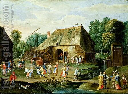 Gentry at a Peasant Dance by Jan van Kessel - Reproduction Oil Painting