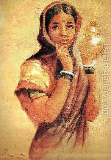 The Milkmaid by Raja Ravi Varma - Reproduction Oil Painting