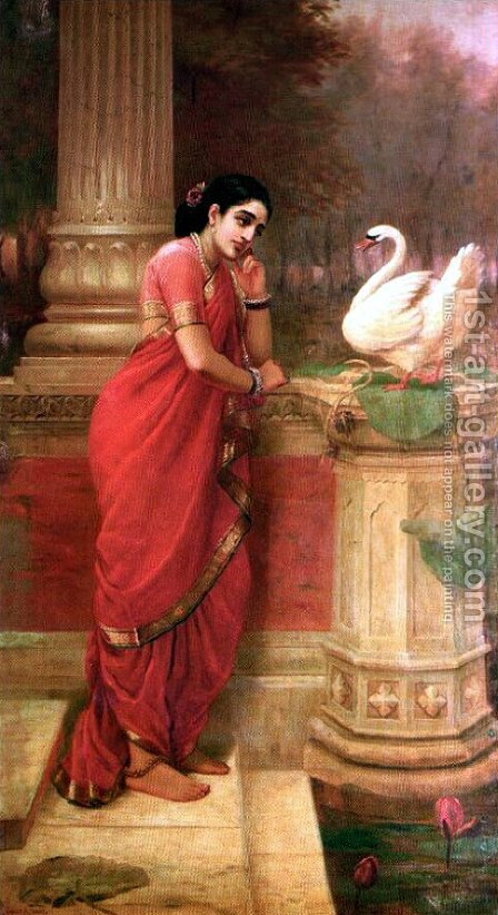Hamsa Damayanthi by Raja Ravi Varma - Reproduction Oil Painting