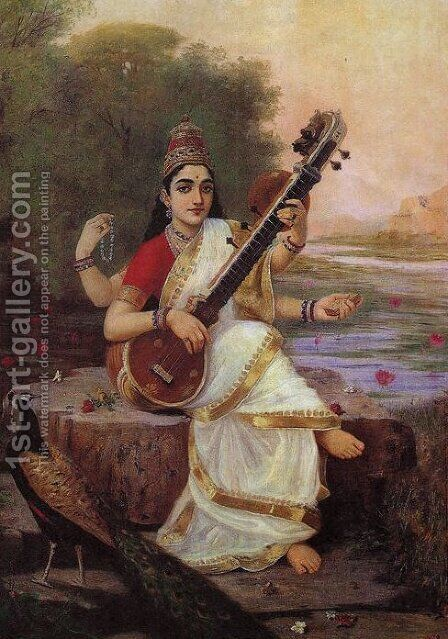 Goddess Saraswathi by Raja Ravi Varma - Reproduction Oil Painting