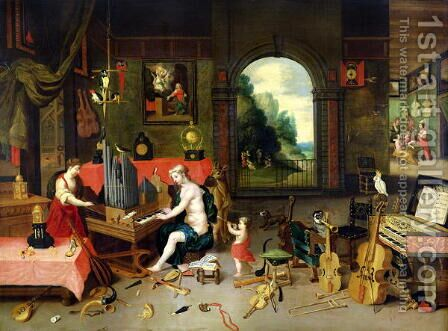 Allegory of Hearing by (attr. to) Kessel, Jan van - Reproduction Oil Painting
