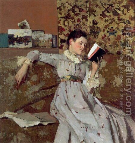 Caterina Reading a Book by James Kerr-Lawson - Reproduction Oil Painting