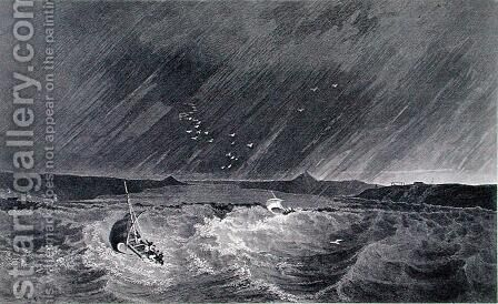 Boats Running for Shelter from a Storm into Refuge Cove by (after) Kendall, E.N. - Reproduction Oil Painting