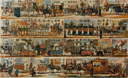 An Ideal Lord Mayors Show with Cars emblematically representing our principal Colonies and some of their most important productions with birds animals and tribes indigenous to those Countries by (after) Kelly, W. - Reproduction Oil Painting