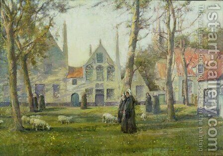 The Beguinage Bruges by Archibald Kay - Reproduction Oil Painting