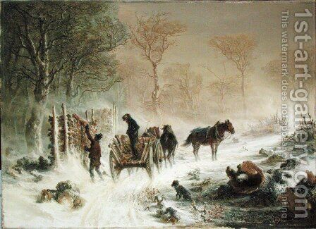 Loading Wood in the Snow by Hermann Kauffmann - Reproduction Oil Painting