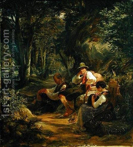 Three Upper Bavarians Resting on an Alpine Path by Hermann Kauffmann - Reproduction Oil Painting