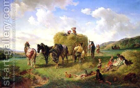 The Hay Harvest by Hermann Kauffmann - Reproduction Oil Painting