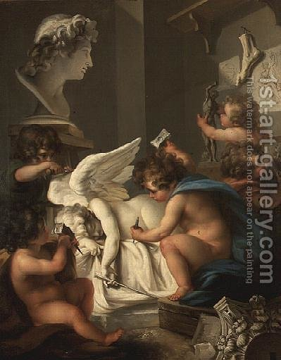 Allegory of Sculpture by Angelica Kauffmann - Reproduction Oil Painting