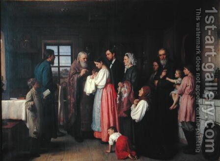 The Christening by Akim Egorovich Karneev - Reproduction Oil Painting