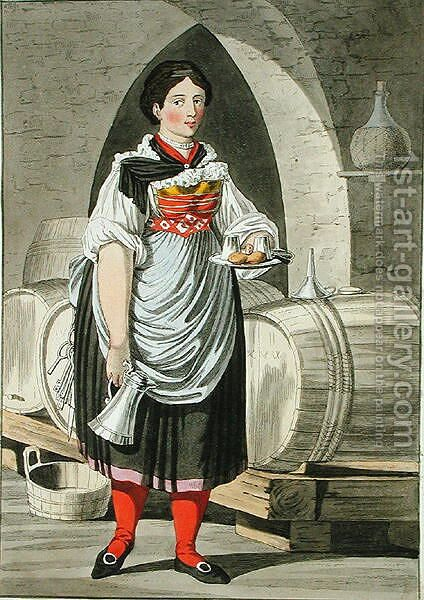 A serving girl at an Inn near Innsbruck by (after) Kapeller, Josef Anton - Reproduction Oil Painting