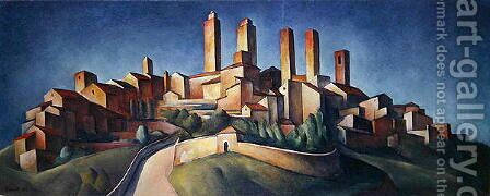 San Gimignano by Alexander Kanoldt - Reproduction Oil Painting
