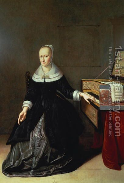 Woman by a Virginal by Godaert Kamper - Reproduction Oil Painting