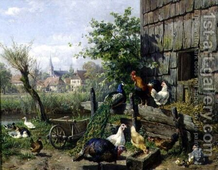 The Farmyard by Carl Jutz - Reproduction Oil Painting