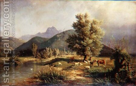 Mountainous Wooded Landscape with Horses and Sheep by Carl Jutz - Reproduction Oil Painting