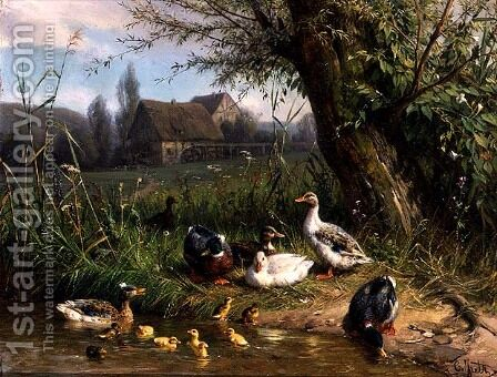 Mallard Ducks with their Ducklings by Carl Jutz - Reproduction Oil Painting