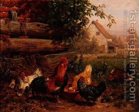 Farmyard Chickens by Carl Jutz - Reproduction Oil Painting