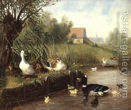 Ducks on the River Bank by Carl Jutz - Reproduction Oil Painting