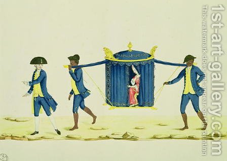A Noblewoman Being Carried by Two Slaves by Carlos Juliao - Reproduction Oil Painting