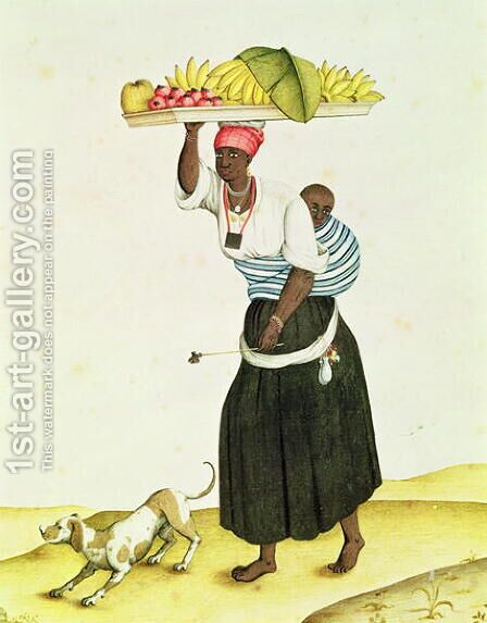A Woman Carrying a Tray of Fruit on her Head by Carlos Juliao - Reproduction Oil Painting