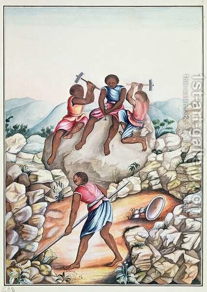 Slaves diamond mining in the Serro Frio region Minas Gerais Brazil by Carlos Juliao - Reproduction Oil Painting
