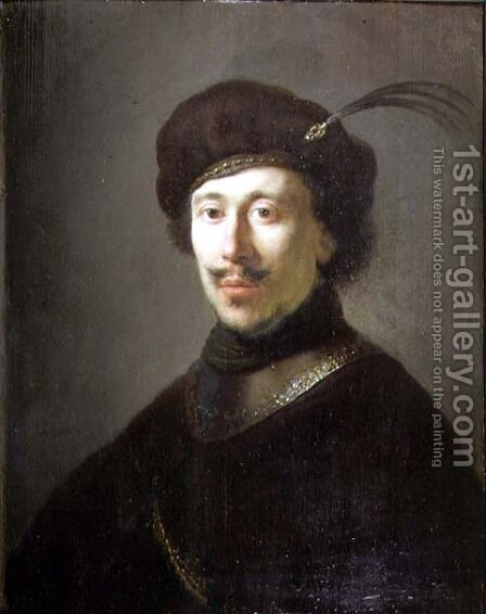 Young Man in a Gorget and Plumed Cap by Isaac de Jouderville - Reproduction Oil Painting
