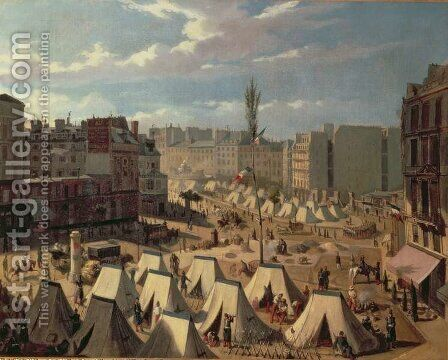 Encampment of troops on the Boulevard du Temple by Alexandre Josquin - Reproduction Oil Painting
