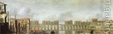 London Bridge by Claude De Jongh - Reproduction Oil Painting