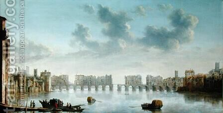 Old London Bridge by Claude De Jongh - Reproduction Oil Painting