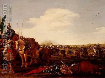 A Battle Scene by Jacob Martsen de Jonge - Reproduction Oil Painting