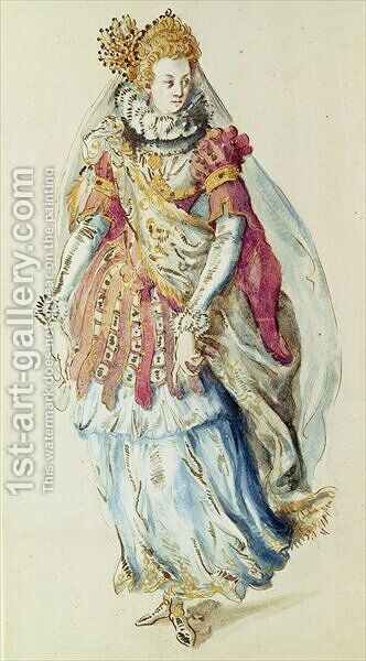 Costume design for a Lady Masquer by Inigo Jones - Reproduction Oil Painting