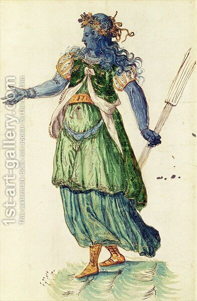 Costume design for the Torchbearer of Oceania from The Masque of Blackness by Inigo Jones - Reproduction Oil Painting