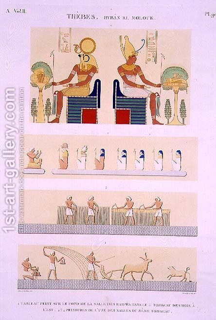 Illustrations of painted boards and murals from the Harps from the 5th Tomb of the Kings of the East by (after) Jollois and Devilliers - Reproduction Oil Painting