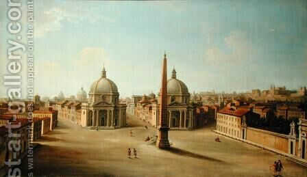 A View of the Piazza del Popolo by (attr. to) Joli, Antonio de dipi - Reproduction Oil Painting