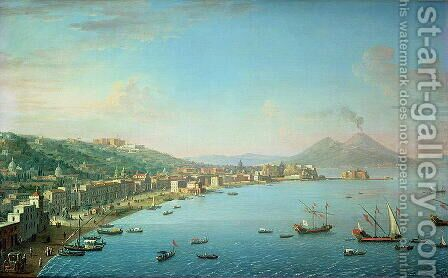Naples from the Bay with Mt Vesuvius in the Background by Antonio Joli - Reproduction Oil Painting
