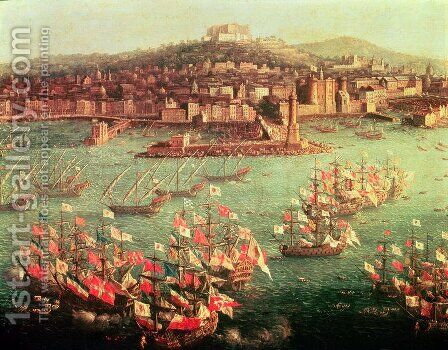 The fleet of King Charles III 1716-88 of Spain before the city of Naples by Antonio Joli - Reproduction Oil Painting