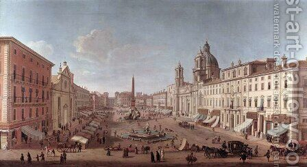 Piazza Navona Roma by Antonio Joli - Reproduction Oil Painting