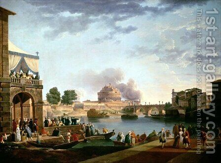 The Election of the Pope with the Castel St Angelo Rome in the background by Antonio Joli - Reproduction Oil Painting
