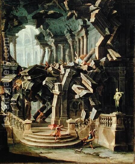 Samson Destroying the Temple of Dagan god of the Philistines by Antonio Joli - Reproduction Oil Painting