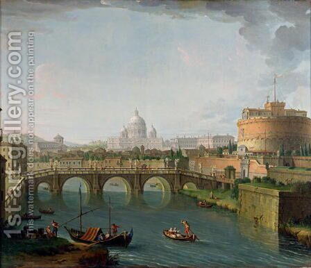 View of the Tiber 2 by Antonio Joli - Reproduction Oil Painting