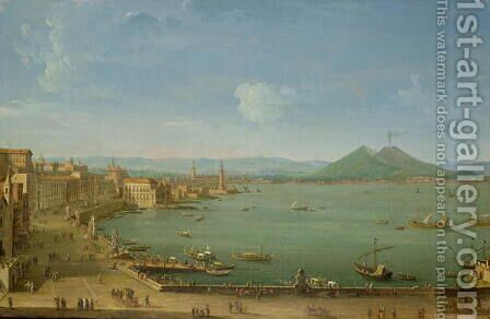 View of Naples from the Bay with Mt Vesuvius by Antonio Joli - Reproduction Oil Painting