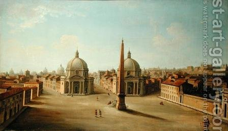 A View of the Piazza del Popolo by Antonio Joli - Reproduction Oil Painting