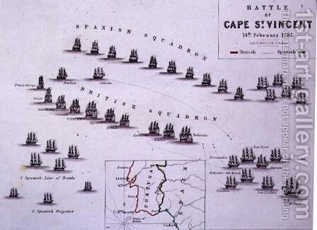 Plan of the Battle of Cape St Vincen by Alexander Keith Johnston - Reproduction Oil Painting