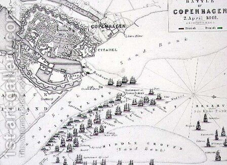 Plan of the Battle of Copenhagen by Alexander Keith Johnston - Reproduction Oil Painting