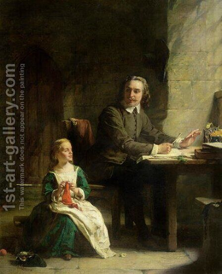 In Bedford Jail  John Bunyan 1628-88 and his Blind Daughter by Alexander Johnston - Reproduction Oil Painting