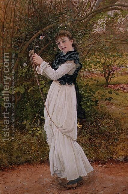 Skipping portrait of the artists daughter Barbara by Edward Killingworth Johnson - Reproduction Oil Painting